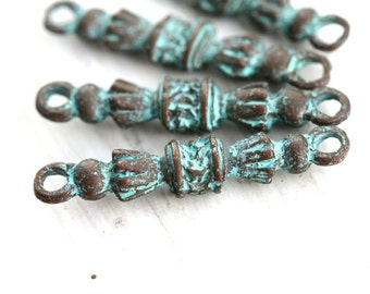 Patina long Connector Links, Ornament, Rustic Greek beads, Lead Free, 30mm - 4Pc - F132