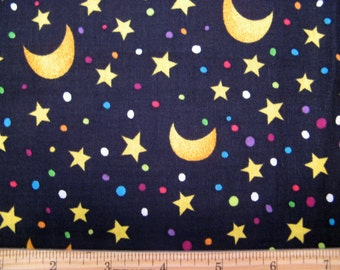 Fat Quarter Halloween Fabric Starry Night #7970 Gold Crescent Moon Stars Dots Circles Black Trick or Treat - Springs Industries, Inc. - OOP
