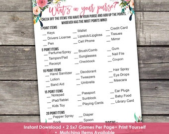 Floral Baby Shower Whats in Your Purse Baby Shower Game - Baby Shower Games - Activities - Baby-111