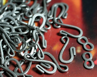 Clasp, hook-and-eye, antiqued silver, 25x9mm flat wire, 6 pairs (item ID F7491FX)