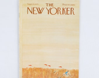 The New Yorker Magazine, Entire Publication. Sept 15, 1975. Light Amber Sky w/Bike Riders through tall amber field. Fair Condition.
