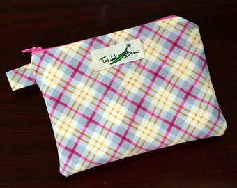 """7""""x5"""" Tab-Handled Wetbag ~ Perfectly Plaid Cotton with PUL Lining ~ by Talulah Bean"""
