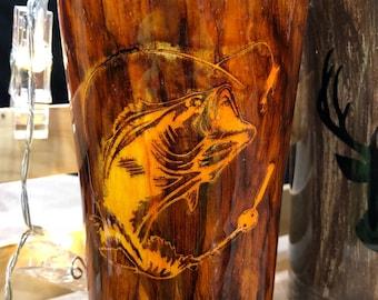 Bass Fish Wood Grain Tumbler
