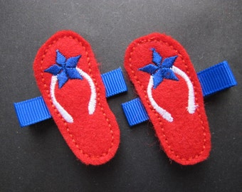 Red felt  flip flops Hair Clips, Summer clip,  Patriotic Clip Piggy Hair Clips--Girl Hairclips--4th of July--Toddler Clips