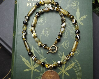 "1914 French ""Liberte, Egalitie, Fraternite"" Coin necklace with Copal and Green Garnet - Ancestors, Pagan"