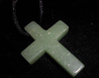 Mint Green ADVENTURINE CROSS PENDANT*Gem Quality*on 24 Inch Black Satin Cord*The Money Stone
