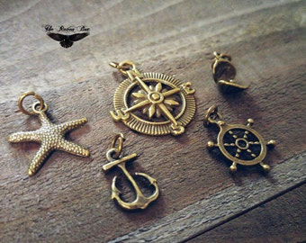 Ocean Charms Set Assorted Charms Sea Charms Nautical Charms Themed Charms 5 pieces with Jump Rings attached Charm Sets Sand Dollar Starfish