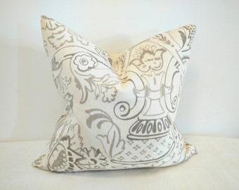 Ikat pillow, Ikat linen pillow cover, grey and off white pillow, designer pillow, 18x18, 20X20, modern pillow, modern decor, linen fabric