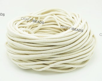 Natural White - 100% Cotton Braided Cord Rope Craft Macrame Artisan String 3MM, 4MM, 5MM & 6MM Thickness
