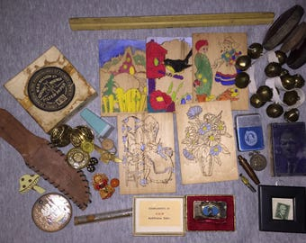 Vintage Estate Sale Junk Drawer Lot Fun Stuff Brass Jingle Bells C&S Bank Advertising Ephemera Destash Crafters Collage Jewelry Buttons Art