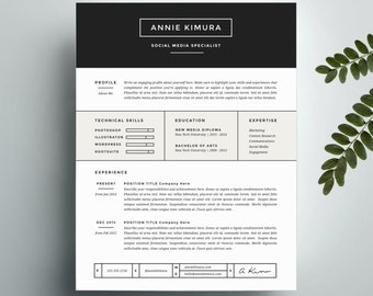 Creative Resume Template and Cover Letter Template for Word   Instant Digital Download   The Annie   Professional and Modern Design