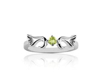 August - Peridot  Guardian Angel Protection Ring