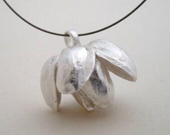 Pistachio Flower Pendant Sterling Silver Pendant Cast From Natural Pistachio Six Petals Pistachio Necklace One Of A Kind Silver Flower