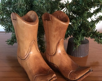 Handcarved Wooden Cowboy Boots, Signed