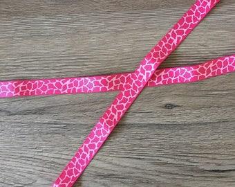Ribbon grosgrain Ribbon 15mm - LEOPARD - hot pink
