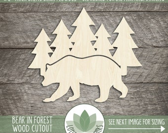 Bear In Pine Forest Wood Cutout, Blank Wood Shapes, Wooden Bear And Forest Shape, Nursery Forest Wall Decor, Wood Sign Supplies, Cabin Sign