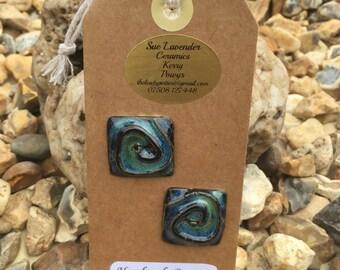 Two Ceramic Spiral Buttons (BT89)