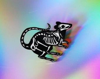 Rat Skeleton Pin, black and white, laser cut acrylic