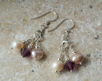 Pink & Silver Chandelier Pearl Drop Earrings - Sterling Silver Earrings of Freshwater Pearl with Amethyst Swarovski Crystal Drops
