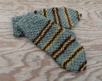 Knitted wool mittens, knit adult gray brown mitts, knitting striped winter rustic gloves, classic hand warmer, women men mittens accessories