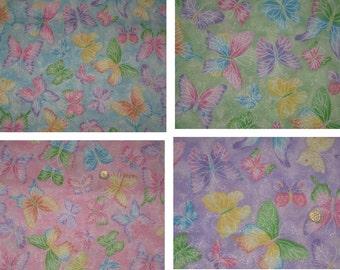 Glitter Butterfly Blue Green Pink Purple Yellow Orange Window Curtain Valance