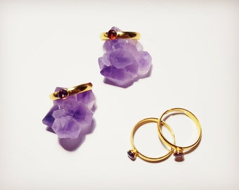 Adjustable crystal ring, Amethyst ring, Garnet ring, Crystal ring, Crystal jewellery, Amethyst jewellery, Garnet jewellery