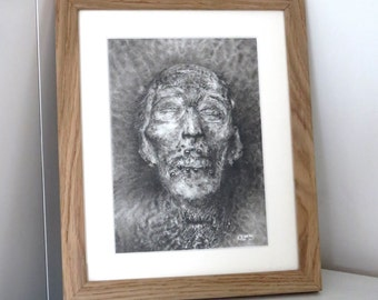 Original charcoal drawing, Portrait of Stephen, dark fantasy art, horror art, monster art, pencil drawing, creature art, demon art