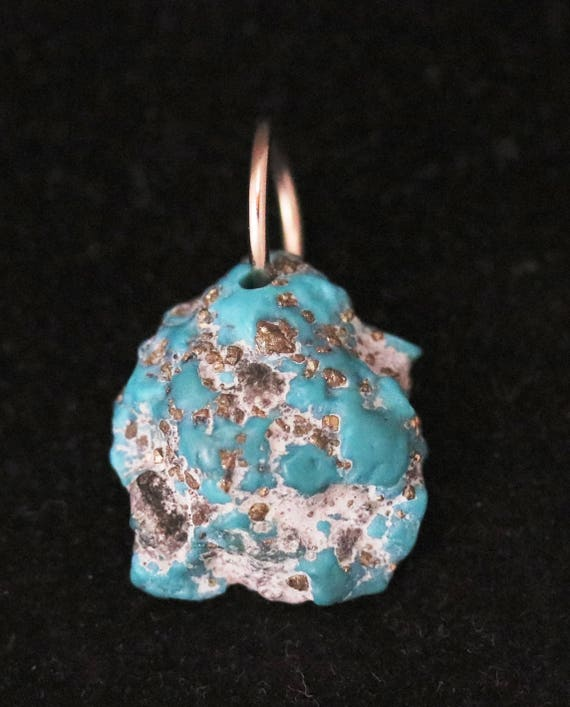 """Sleeping Beauty pendant, light robin's egg blue, Turquoise, w Pyrite sparkles, """" Moving On"""", nickel bail 27.5"""