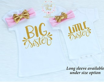 Big Sister Little Sister Outfits, Little Sister Big Sister Shirts, Sibling Shirts, Baby Annoucement, Big Sister Announcement Shirt FS9