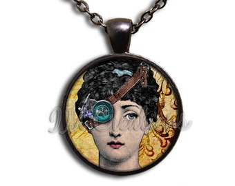 Steam-punk Lady Patch Eye Glass Dome Pendant or with Chain Link Necklace SM149