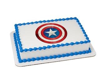 Avengers Captain America Shield Edible Cake Topper