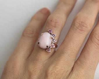 Statement Ring, Gold Boho Ring, Gold Opal Ring, Pink Opal Ring, Trillion Sapphire Ring, Pink Sapphire Ring, Bohemian Ring, Cocktail Ring