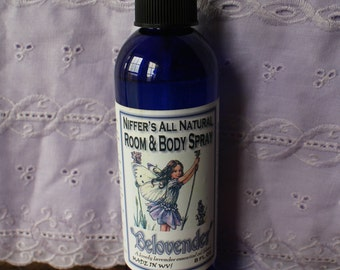 Niffer's All Natural Room & Body Spray - Belovender, 8 oz Spray Bottle