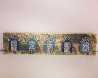 Made To Order. Beach Hut String Art, Handmade, Recycled Pallet Wood, Gifts