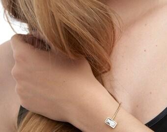 Adjustable Bracelet, Rectangle Zirconia Bracelet, Stackable Bracelet, Open Gold Bangle, Gold Open Cuff,Open Gold Bracelet,Two Stone Bracelet