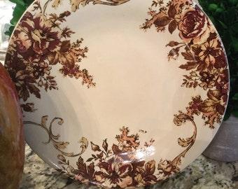 "Four (4) really gorgeous dessert plates in cream/brown/tan/gorgeous peach 9"" wide"