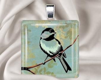 Rustic Bird - Square Glass Tile Pendant Necklace