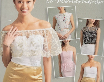 A Night to Remember Simplicity Pattern 8598 EVENING TOP CORSET Top Over the Shoulder Ruffle Misses Sizes 8 10 12 14 16