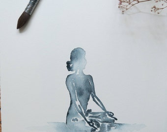 Yoga art | Original | Indigo Lotus | Meditation | Watercolour Painting| A3