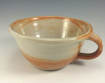 Stoneware Chowder Bowl in Shino  glaze pottery soup bowl with handle