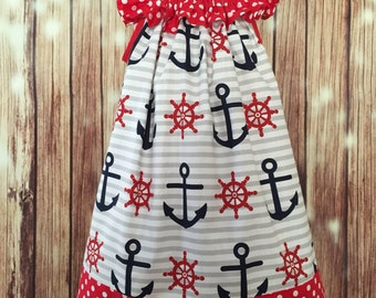 Nautical Sundress for girls. Anchors dress, Cruise sundress for girls, Sundress for Cruise Trip, Red, White and blue anchors dress