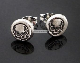 Sterling Silver Skull Stud Earrings, sterling studs, sterling silver stud earrings, skull earrings, skull studs, silver skull earrings