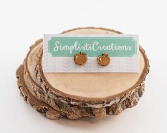 Laser Cut Apple Wood Earrings | Teacher earrings