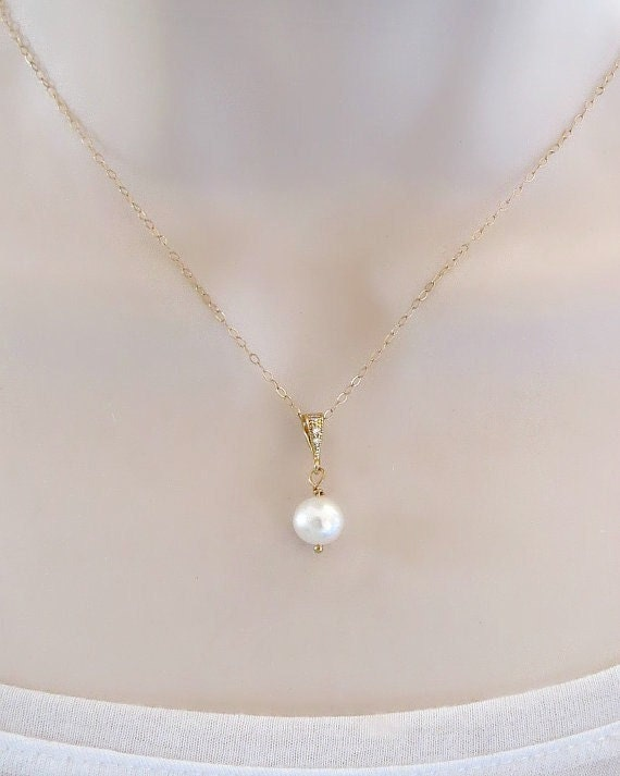 Single pearl necklace swarovski pearl necklace bridesmaid zoom aloadofball Images