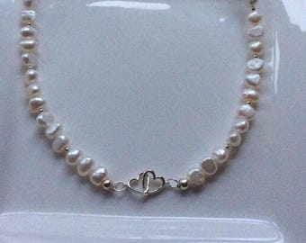 pearl necklace intertwined hearts, 925 silver, ladies gift, valentine gift, wedding necklace, Mother's Day gift, love necklace