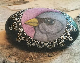 Junco Bird Painting, Painted Stone, Painted Rock, Unique Gift, Nature Art, Gift for Dad, Birder Gift, Paperweight, Desk Ornament
