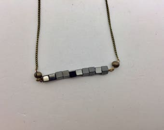 Magnetic Hermatite Bar Necklace