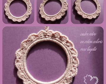 Frame hand crocheted retro or picture holder