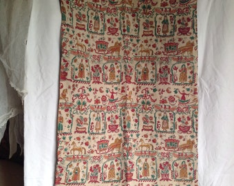 "Antique French Textile Vintage Fabric Printed Panel / Medieval Folk Style Curtain Panel / Cotton & Linen / 22 ""x 45"" RARE"