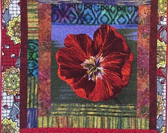 On Sale Give Yourself a Bold Red Flower 40x48 inch art quilt
